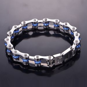 Image 5 - SDA Moda 316L titanium bracciali In Acciaio Blu E viola Di cristallo Catena Moto Bracciali 10 millimetri di larghezza 17 centimetri ~ 22CM