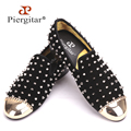 Piergitar 2016 new style black suede with silver rivets and gold metal toe Smoking slippers Handcraft prom and banquet Loafers