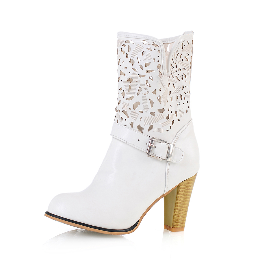 Brand New Sales Sexy Women Med Calf  Riding Boots Black Apricot White Lady Motorcycle Shoes Cut outs AH230 Plus Big size 32 43 brand new hot sales women nude ankle boots black red white sexy ladies riding shoes high heels emb02 plus big size 32 45 11