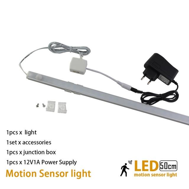 50cm10W Body infrared PIR Led lamp with motion sensor light for under kitchen cabinets lights 12V wardrobe closet bedroom