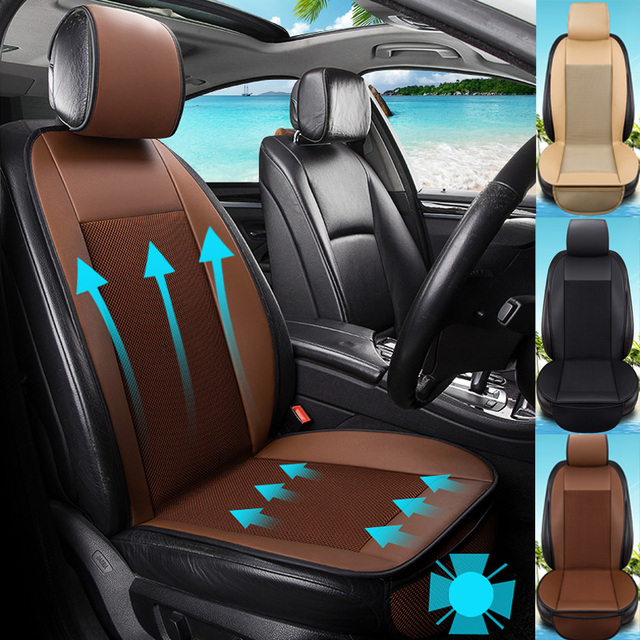 2018 Pu Leather And Fabric 12v Electric Cooling Car Seat Cushion Universal Fan Cool Seats Covers