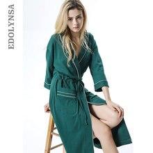 fedd17045b Autumn Sleepwear Robe Female Green Nightgown Ladies Women Bathrobe Winter  Kimono Night Wear Robe Gown Long