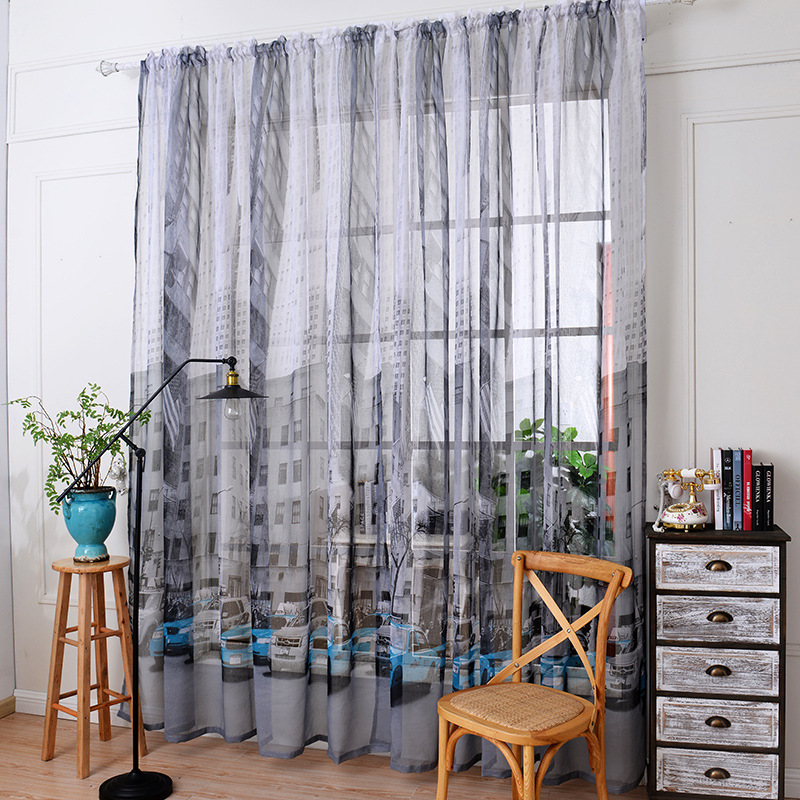 Cartoon Linen Cotton Boy Bedroom Curtains Embroidery: Cartoon Car Printed Cotton And Linen Curtains Tulle For