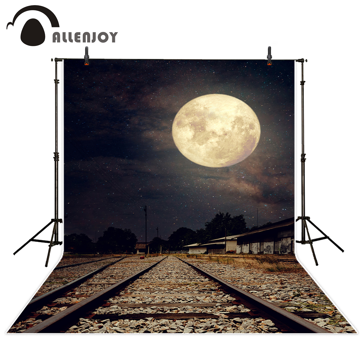 Allenjoy backdrop for photo studio railway train glitter moon sky night photobooth background photo prop