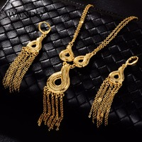 WANDO Jewelry sets Gold Color Necklace/Earring India/African/Dubai/Ethiopia/Nigeria/Arabic Women Wedding Bride Gifts ws30