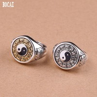 S925 pure silver jewelry Thai silver handmade Tai Chi gossip time to run good luck ring