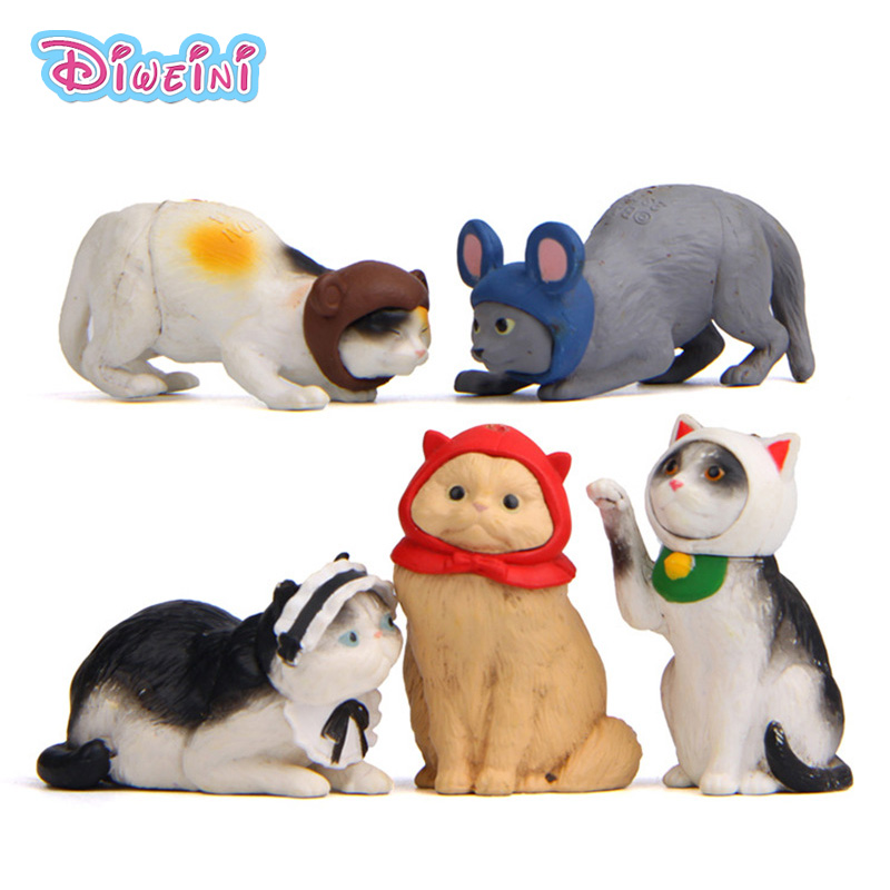 Cats Cosplay Mouse Miniature Figurine Cartoon Kitten Figures Animal Game Models Pet Toy DIY Accessories Doll House Decoration