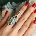 Anéis de luxo Anel Conjunto de Cristal Austríaco CZ Verde Sliver Chapeado Jóias Exagerada Anéis de Dedo Médio Para Mulheres Projeto Original