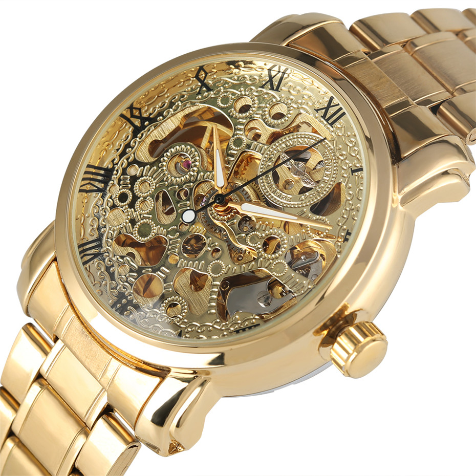 Montre WINNER hommes or Transparent squelette mécanique montres pour hommes bracelet en acier chiffres romains affichage montre-bracelet d'affaires homme
