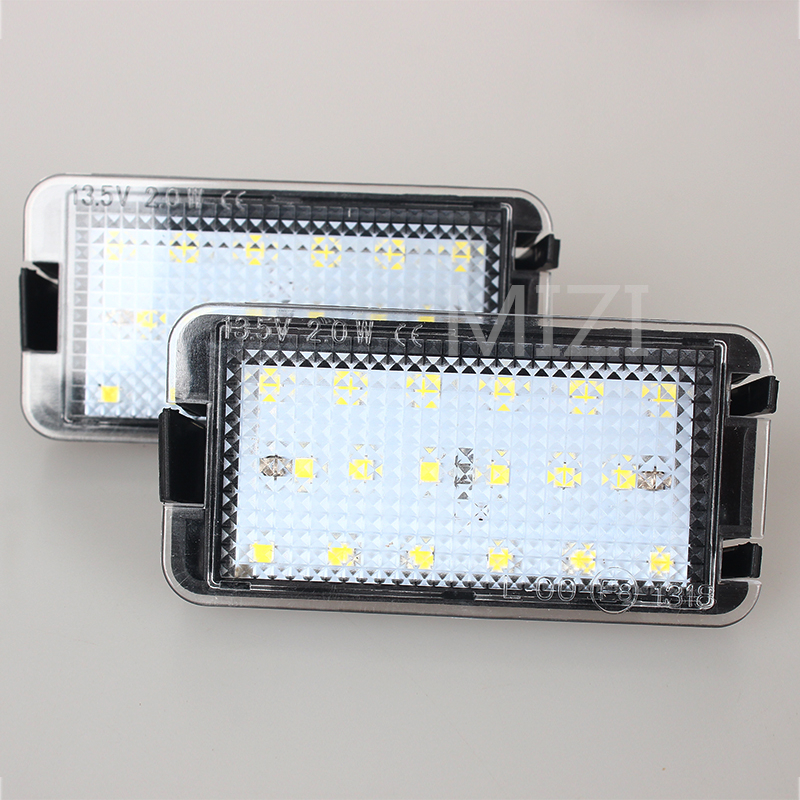 2Pcs Super Bright LED License Plate Light 2X18MD Canbus For Seat 99-05 Leon 1M 04-09 Altea Arosa Cordoba MK1 MK2 Ibiza Toledo 5P for seat alhambra iii cordoba ibiza v toledo toledo iv scoe 2015 new 2x6smd 5050led license plate light bulb source car styling