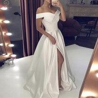 2019 Off the Shoulder Wedding Dresses Elegant Split Stain Bridal Gowns Plus Size Floor Length Party Customized vestido de noiva