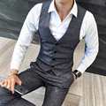 Winter Thick Men Vest Fashion Korean Slim Fit Wedding Dress Suit Vest Single Breasted Casual Waistcoat Party Gilet Colete 5XL-M
