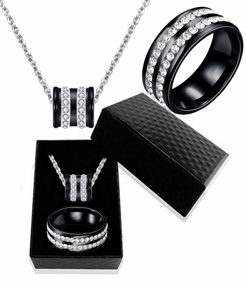 Trendy Stainless Steel Double Drainage Drill Three-Color Pendant Necklace Ring Jewelry Sets For Women Wholesale Gift Box