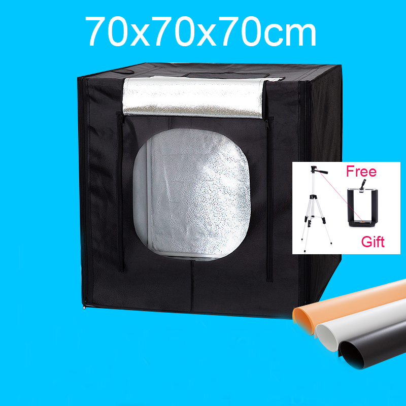 70*70*70CM Led Photo Studio Light Tent Photography Softbox Light Box Shooting Lightbox Kit +Dimmer Switch With Free Gift puluz 40 40cm 16light photo studio box mini photo studio photograghy softbox led photo lighting studio shooting tent box kit