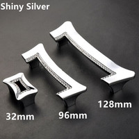 Fashion Deluxe Glass Diamond Handles Silver Chrome Kitchen Cabinet Wardrobe Dresser Drawer Handles Crystal Knobs 128mm