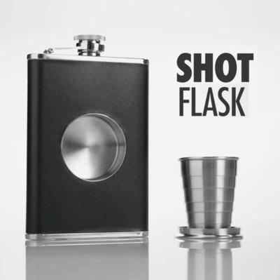 New high-grade with telescopic stainless steel hip flask portable 8 oz folded cup wine bottle embedded wine cup wine set