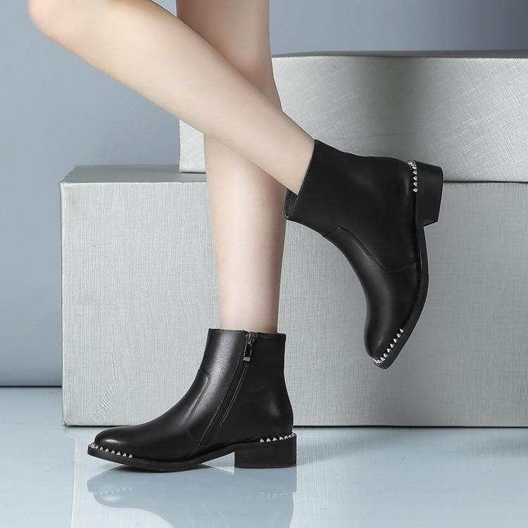 En Femmes Rivets Chaussures Bottes Chunky Pour Rond D hiver Zapatos Luxe  Cheville Bout Latérale De Cuir Fille Talon Femme Noir Glissière rwBIUrq c72caa29f579