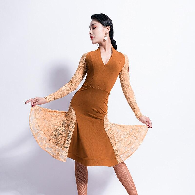 Latin Dance Dress Adult V Neck Lace Long Sleeves Women Competition Tango Cha Cha Rumba Samba