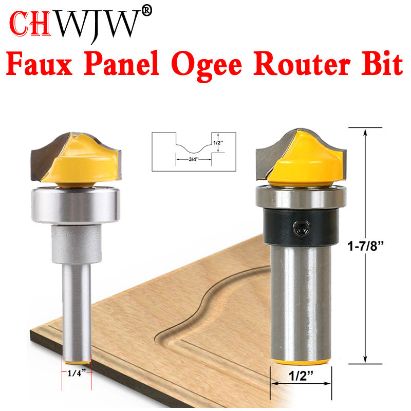 1pcs 1/4 8mm 1/2'' Shank Faux Panel Ogee Router Bit - C3 Carbide Tipped Woodworking cutter Tenon Cutter for Woodworking Tools 1pcs 8mm shank entry door for long tenons router bit woodworking cutter woodworking bits tenon cutter for woodworking tools