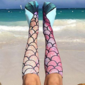 Calcetines de las mujeres Patrón de Sirena Playa Mujeres 3D Sirena Calcetines Divertidos Calcetines de Regalo de Navidad de Cosplay