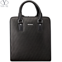 YINTE Men's Handbag Classic Business Briefcase Black Bag Weave Pattern Concise Fashion And High Capacity Men's Bag Totes T8298-1