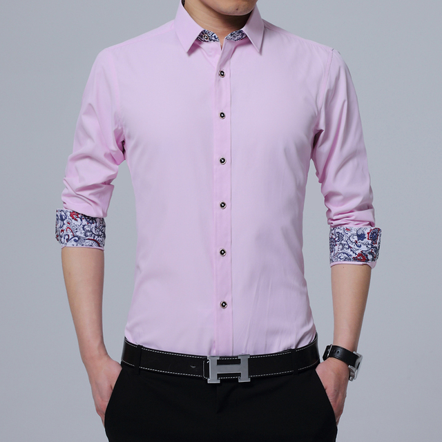 Pink Shirt Men 2017 Fashion Floral Print Mens Work Shirts Long ...