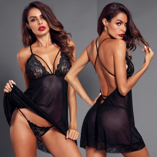 Women Lace Sexy Nightwear G string Babydoll Sleepwear Dress Perspective Solid Sling Lace Dresses Sets Womens  Costume