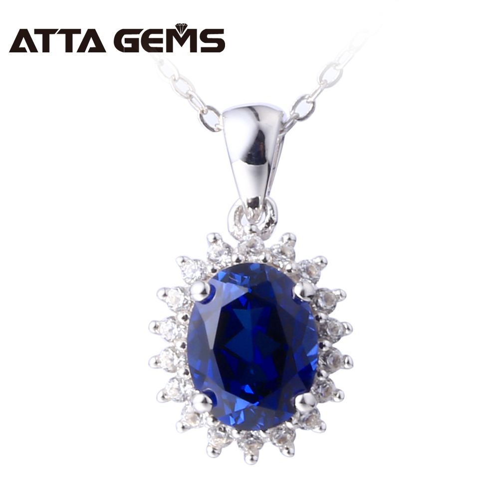 Women Fine Jewelry Blue Sapphire Silver Pendant 2.8 Carats Created Sapphire Sterling Silver Pendant Fashion And Classical