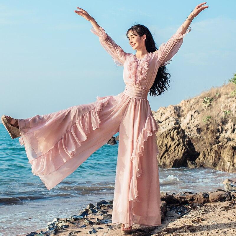 무료 배송 2019 새로운 보헤미안 롱 여성 쉬폰 프릴 바지 계층화 된 탄성 허리 boshow 핑크 와이드 레그 화이트 바지-에서팬티 & 카프리스부터 여성 의류 의  그룹 2