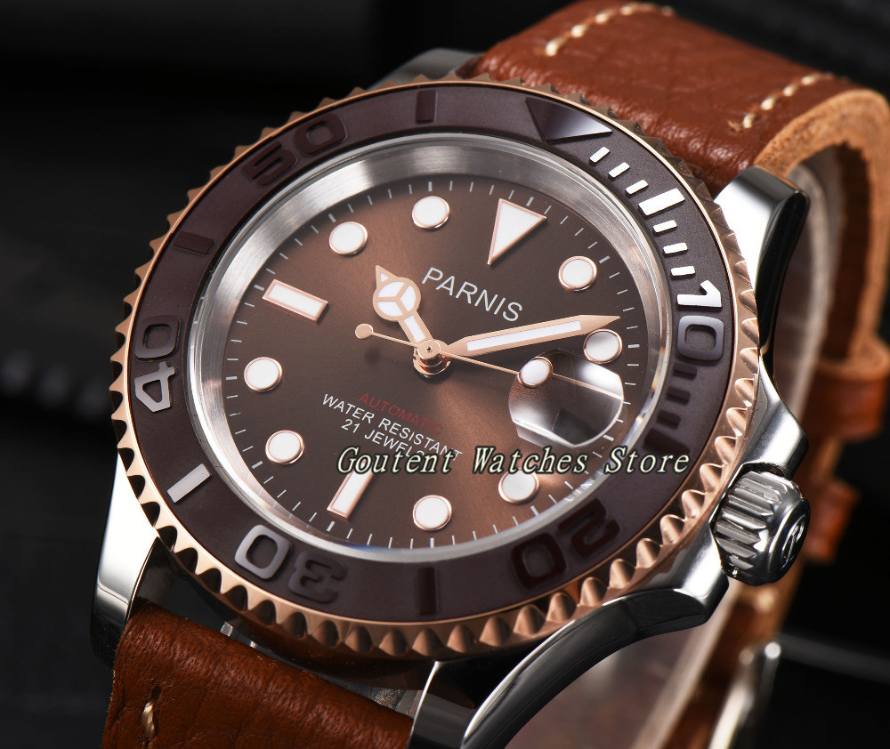 Reloj de pulsera para hombre con esfera marrón de 44mm Parnis-in Relojes mecánicos from Relojes de pulsera    1