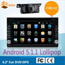 Android 5.1 Quad Core in dash 2 Din Car dvd gps Audio Stereo GPS Navigator Double 2Din HD car monitor dvd radio gps free camera