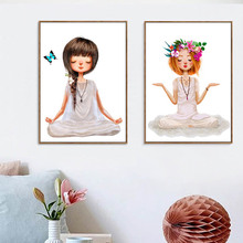 Nordic Lovely Yoga Girl Poster Canvas Paintings Wall Art Printings Pictures For Living Room Girls Home Decor