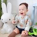 Модный бренд Детской Одежды Девушки Лимон Апельсин Parttern Свитер Малыш Повседневная Верхняя Одежда Мальчиков Мультфильм Трикотаж 81239