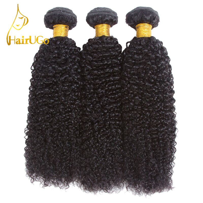 HairUGo Hair Pre-colored Indian Kinky Curly Wave Hair 3 Bundles With Closure Human Hair Extensions Non Remy Hair