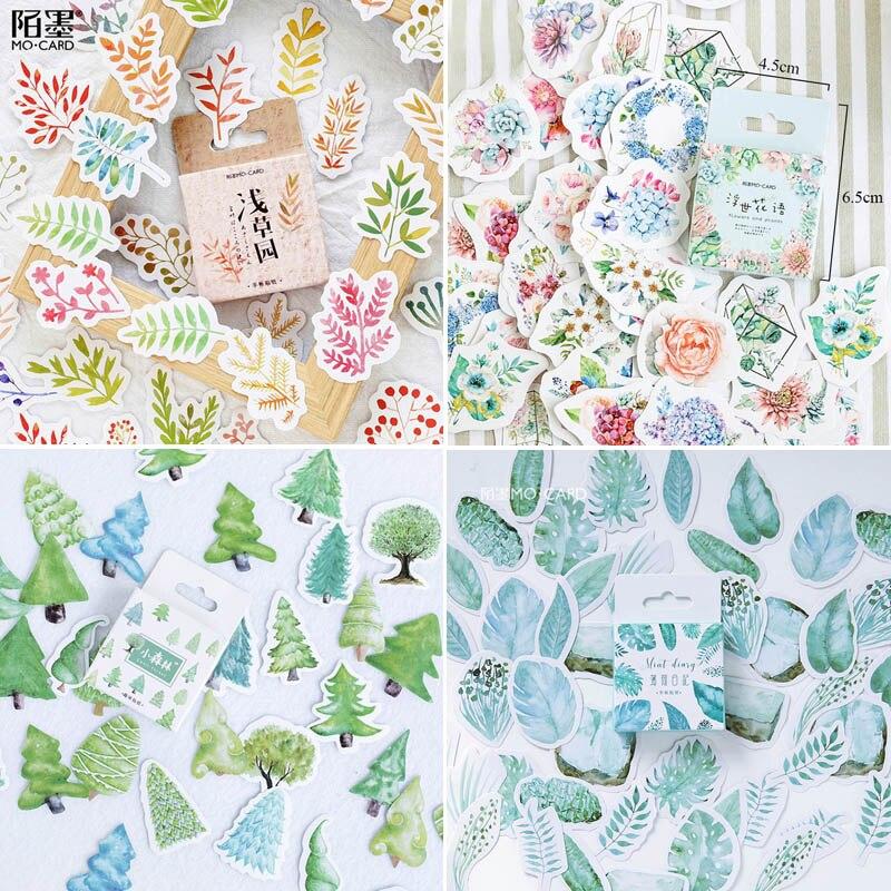 45 pçs/caixa Papelaria Adesivos Flores Planeta Adesivos Decorativos Diário Álbum de Scrapbooking Etiqueta Vara Bala Jornal Adesivos