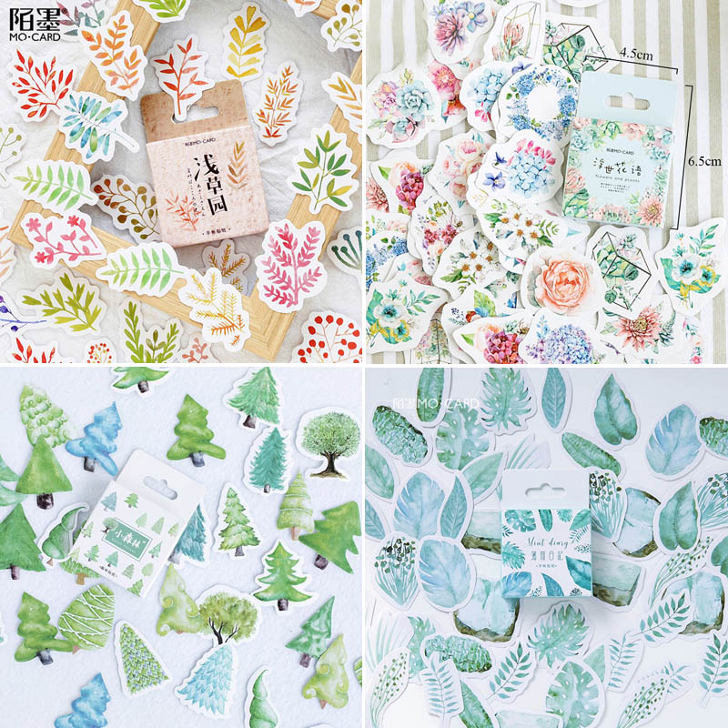 45pcs/box Stationery Stickers Flowers Planet Decorative Stickers Scrapbooking Stick Label Diary Album Bullet Journal Stickers