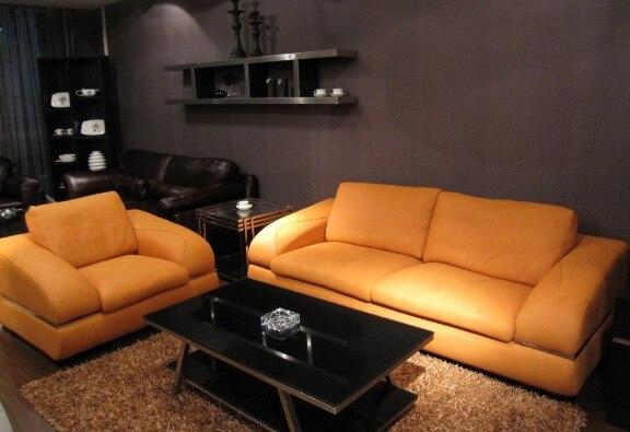US $845.5 5% OFF|Kuh echtes leder sitzgruppe wohnzimmer möbel couch sofas  wohnzimmer sofa schnitts/ecke sofa1 + 3 sitzer feder sofa in Kuh echtes ...