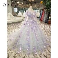 Это Yiiya Фиолетовый Иллюзия спинки цветочные аппликации Роскошные шлейфом Свадебное платье невесты платье Vestidos De Novia Casamento XNE234