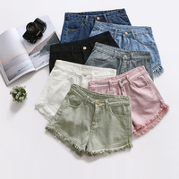 Candy Color Ripped Tassel Hem Shorts Women High Waist Short Jeans Pants Female White Pink Pockets