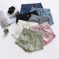 Candy Color Ripped Tassel Hem Shorts Women High Waist Short Jeans Pants Female White Pink Pockets