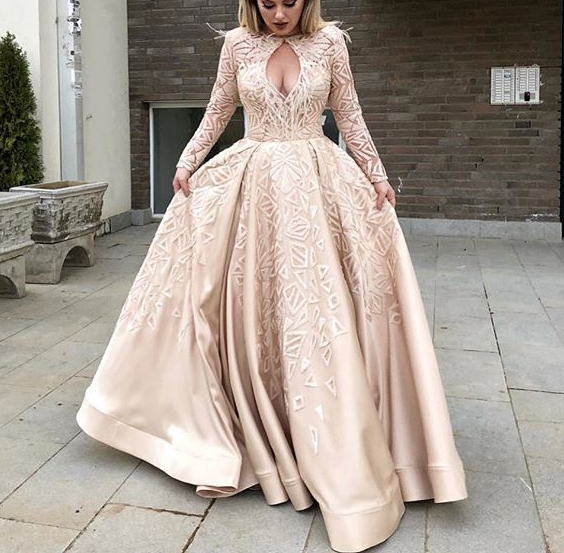 Robe de soiree New Long   Evening     Dress   2019 Long Sleeves Appliques Lace Satin Formal   Dress   Prom   Dresses   abendkleider