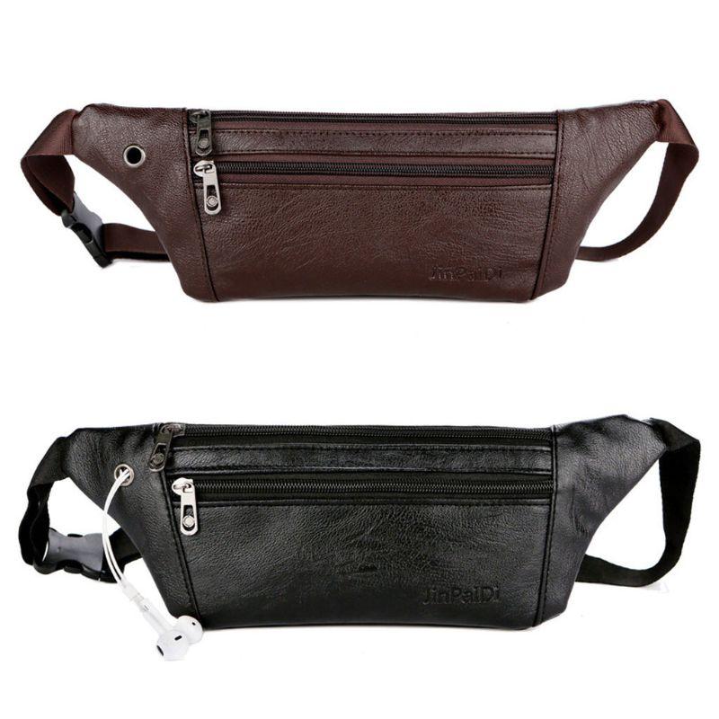 Fasihon Men PU Leather Belt Bum Waist Pouch Fanny Pack Crossbody Shoulder Sport Zip Bag Black Brown Color