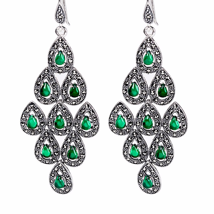 New Pure 925 Sterling Silver with Green  Peacock Dangle EarringsNew Pure 925 Sterling Silver with Green  Peacock Dangle Earrings