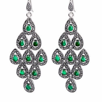 New Pure 925 Sterling Silver with Green  Peacock Dangle Earrings