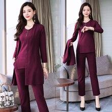 Purple 3 piece suit women tracksuits 2 sets outfits plus size loose pants suits and top 2019 winter autumn elegant clothes
