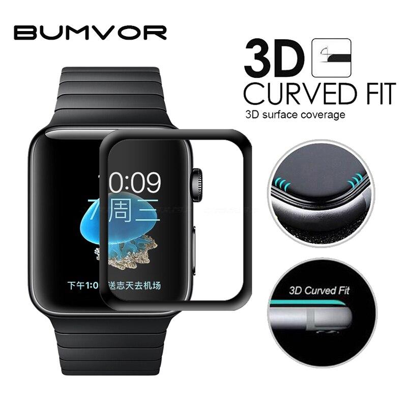 Для iwatch покрытие закаленное Стекло для Apple Watch 38 мм 42 мм серии 3 2 1 полное покрытие 3D изогнутые черные края Экран протектор фильм