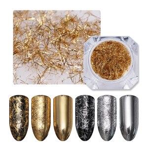 Image 1 - BORN PRETTY Gold Silver Nail Strip Mirror Flakies Metal 3D Nail Decoration Wire Line UV Gel Nail Art Decoration Accessories