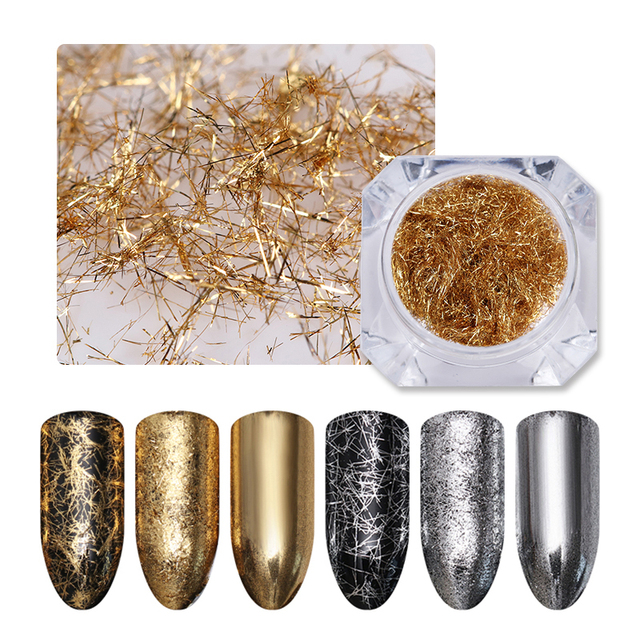 BORN PRETTY Gold Silver Nail Strip Mirror Flakies Metal 3D Nail Decoration Wire Line UV Gel Nail Art Decoration Accessories