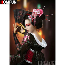 HOMFUN Full Square/Round Drill 5D DIY Diamond Painting Japanese geisha 3D Embroidery Cross Stitch Home Decor A19195
