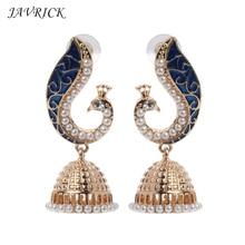 Retro Women Earrings Indian Bollywood Kundan Peacock Jhumka Jhumki Drop Gypsy Jewelry